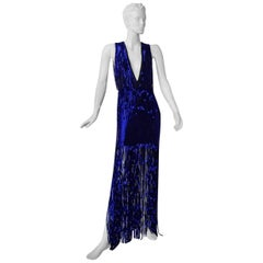Tom Ford Fringe is In!  Spectacular Deco Deep Blue Plunging Evening Dress Gown