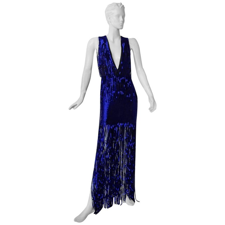 Tom Ford Fringe is In!  Spectacular Deco Deep Blue Plunging Evening Dress Gown  For Sale