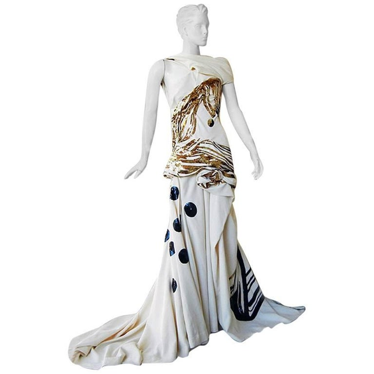 John Galliano Rare 2007 Runway Collection Finale Dress Gown For Sale