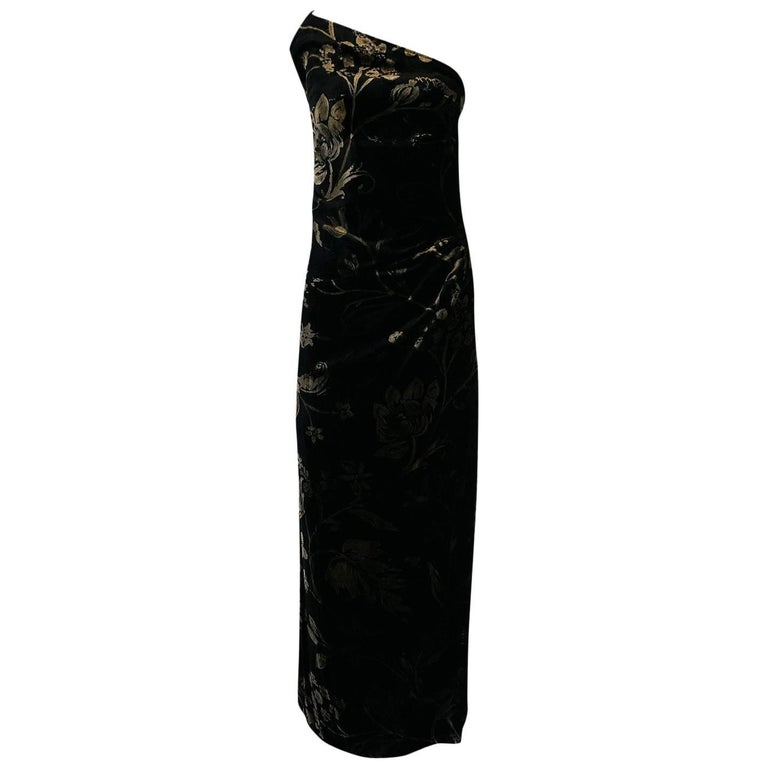 1980s Yves Saint Laurent One Shoulder Velvet Dress