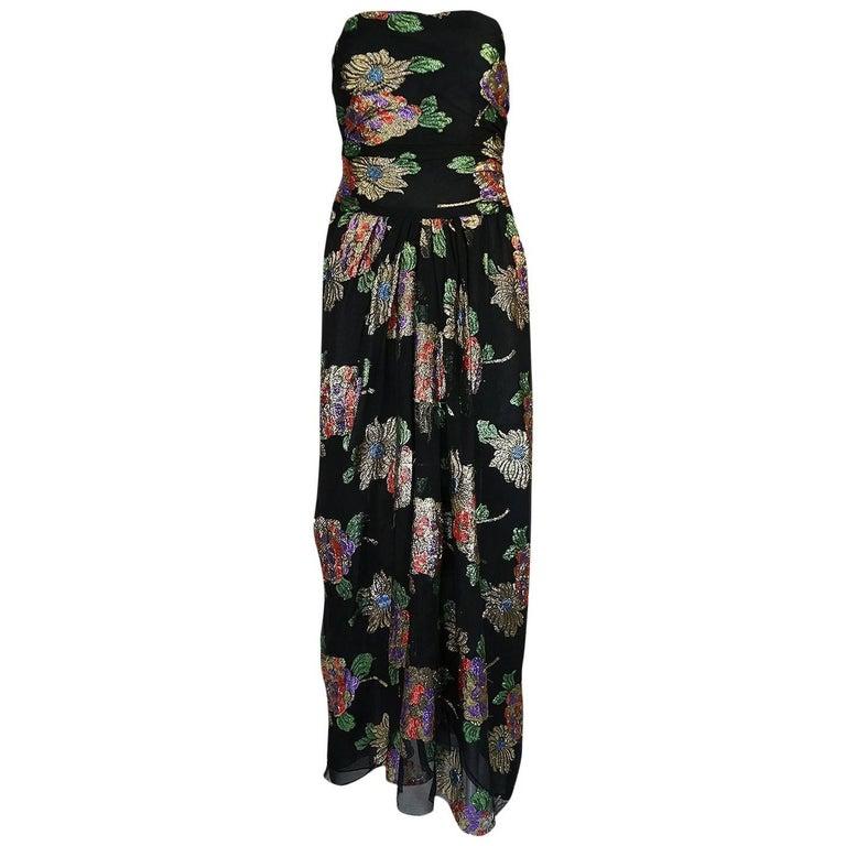 1970s Oscar De La Renta Silk & Vivid Metallic Strapless Dress
