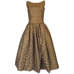 Documented 2003 Oscar de la Renta Silk Leopard Print Dress