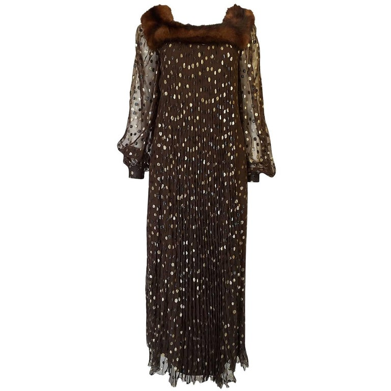 1970s Givenchy Haute Couture Metallic Dot, Silk & Mink Dress