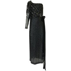 1970s Bill Gibb Silver & Black Dress w Beaded Shoulder Piece