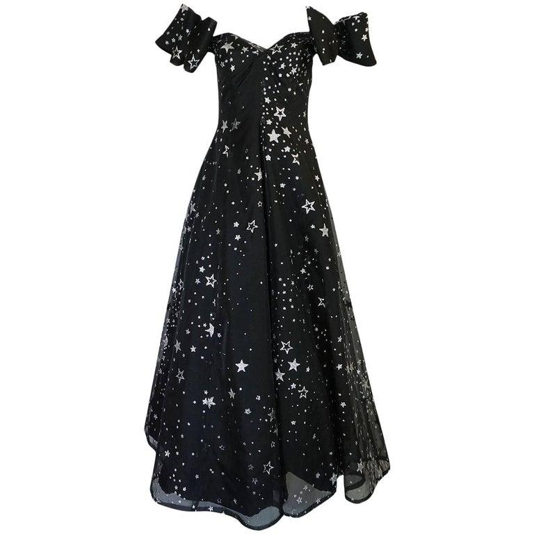 1986 Murray Arbeid Silver Glitter Stars & Bows Ballgown Dress