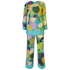 c1962-65 Bob Bugnand Bright Floral Print & Sequin Tunic & Pant Set