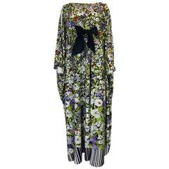 1970s Lanvin Floral Printed Fluid Jersey Ribbon Front Caftan Dress