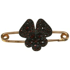 Victorian Garnet Pansy Safety Pin Brooch