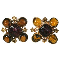Early Chanel Byzantine Maison Gripoix Glass Earclips