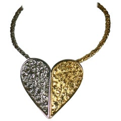 Two Toned Brutalist Heart Pendant