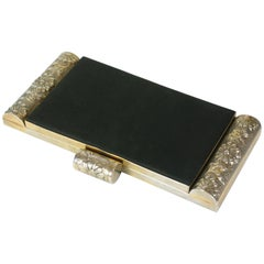 Black Suede and Bakelite Minaudiere Clutch