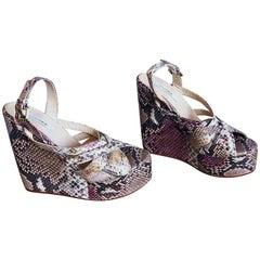 Brand New Nmbr Nine Size 39 Python Pink Snakeskin Platform Wedges Heels Sandals