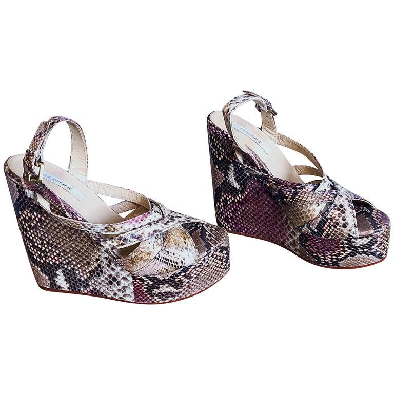 Brand New Nmbr Nine Size 39 Python Pink Snakeskin Platform Wedges Heels Sandals For Sale