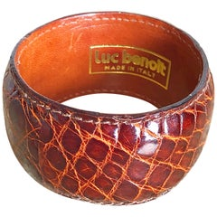 Luc Benoit 1970s Alligator Crocodile Cognac Brown 70s Vintage Bangle Bracelet