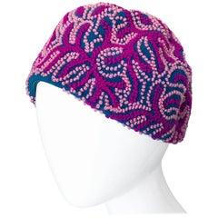 Oleg Cassini 1960s Pink + Fuchsia + Navy Blue Wool 60s Mod Vintage Cloche Hat