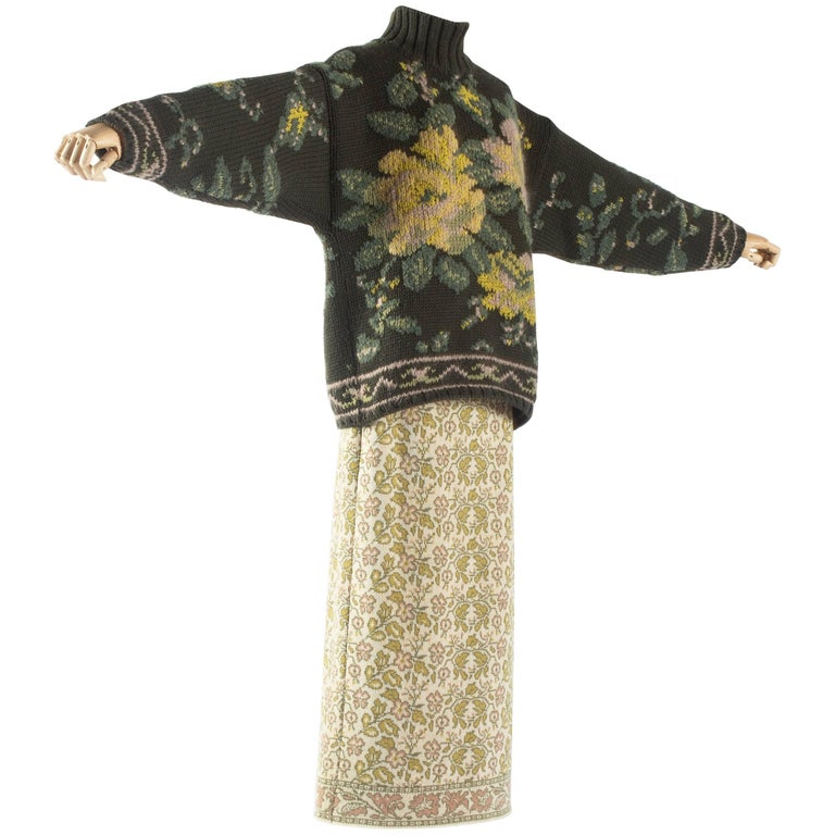 Jean Paul Gaultier floral tapestry cable-knit sweater and skirt, aw 1984 For Sale
