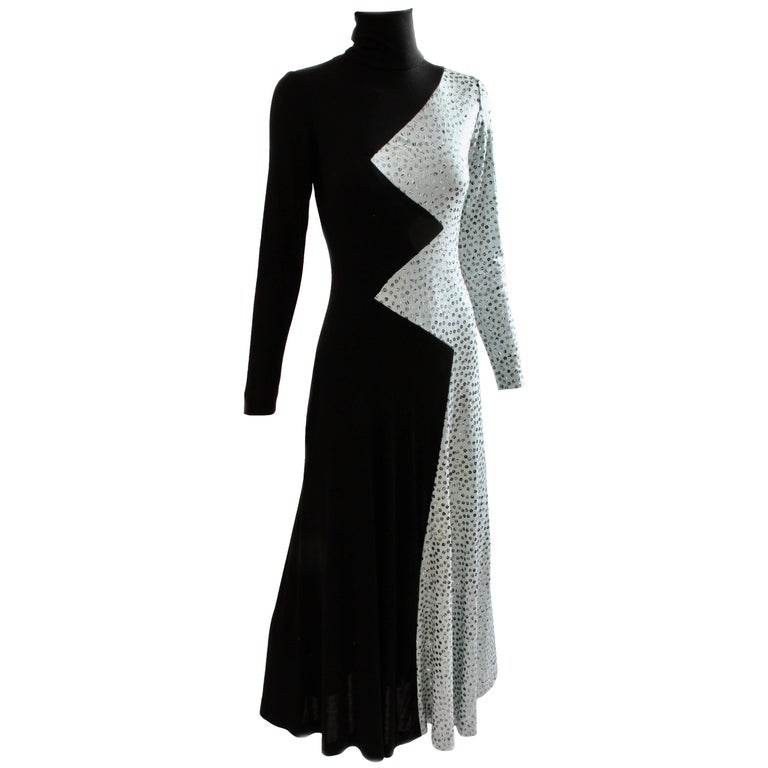 Yolanda Cellucci Black and Gray Maxi Dress Evening Gown, 1970s For ...