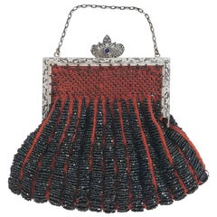 Steel Cut Red Crochet Purse with Filigree Detail, 1920s
