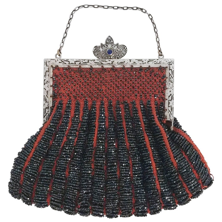 Steel Cut Red Crochet Purse with Filigree Detail, 1920s For Sale