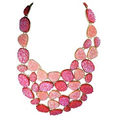 Unsigned Oscar de la Renta Hot Pink Druzy Crystallized Necklace