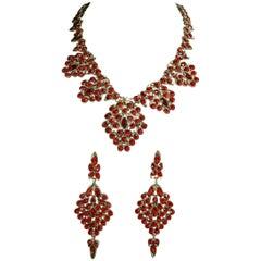 Oscar de la Renta Vintage Faux Ruby Bib Necklace and Earrings Set