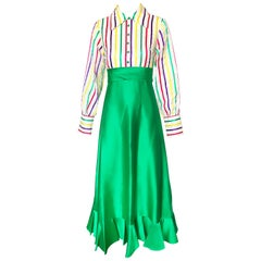 1970s Emma Domb Candy Stripe Silk Gown Kelly Green 70s Vintage Maxi Dress
