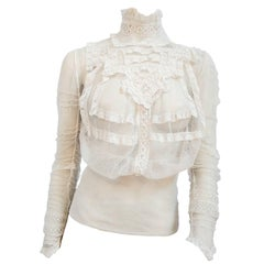 1900s White Lace Sheer Mesh Blouse
