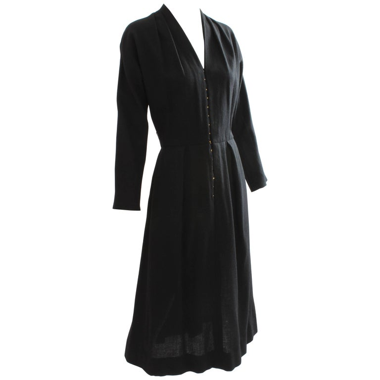 50s Claire McCardell for Townley Black Wool Dress Raglan Sleeves Size S