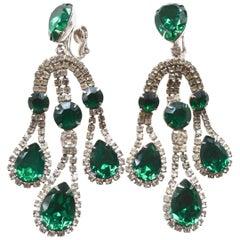 Napier Oversized Emerald Glass Earrings