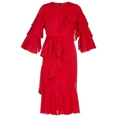 New Gucci Ruffled Silk-Georgette Hibiscus Red Dress It. 40
