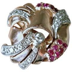 Vintage 1940s 14 KT Rose Gold Ruby & Diamond Retro Ring