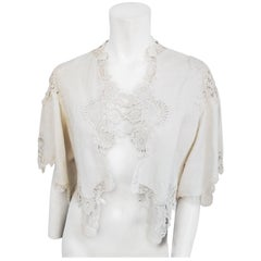 Edwardian White Cotton Lace Shawl