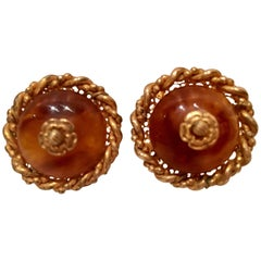 VIntage Miriam Haskell Amber & Russian Gold Earrings-Signed