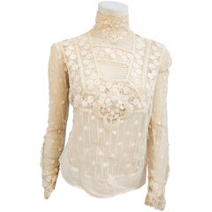 Edwardian Polka Dot Sheer Lace Blouse