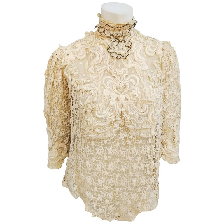 Edwardian Cream All-Over Lace Blouse