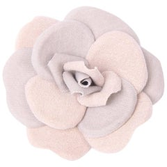 Chanel Cotton & Linen Camellia Brooch Pin - beige