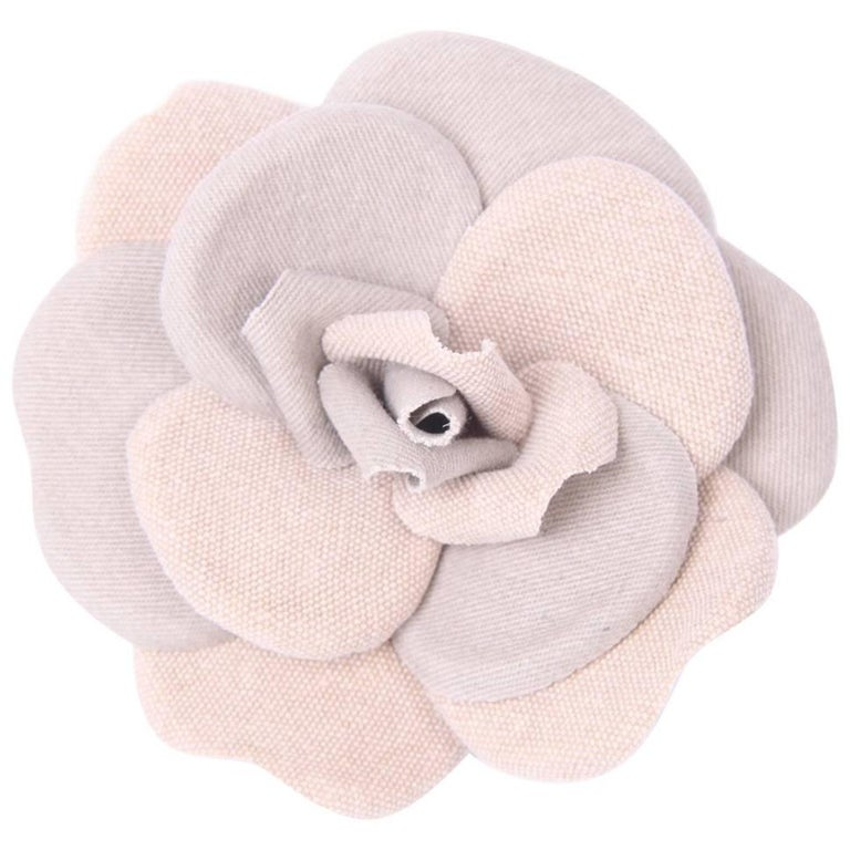 Chanel Cotton & Linen Camellia Brooch Pin - beige