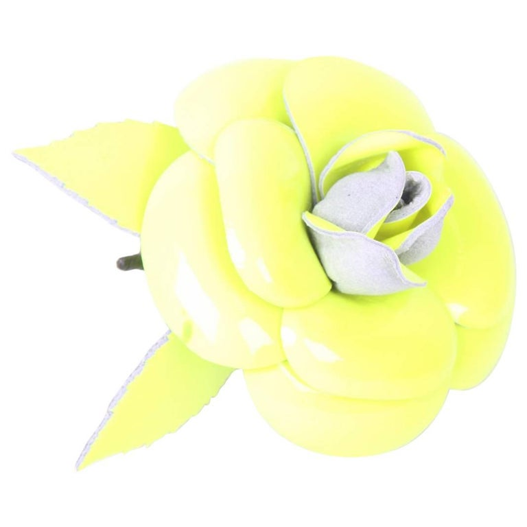 Chanel Patent Leather Camellia Brooch Pin - fluorescent yellow