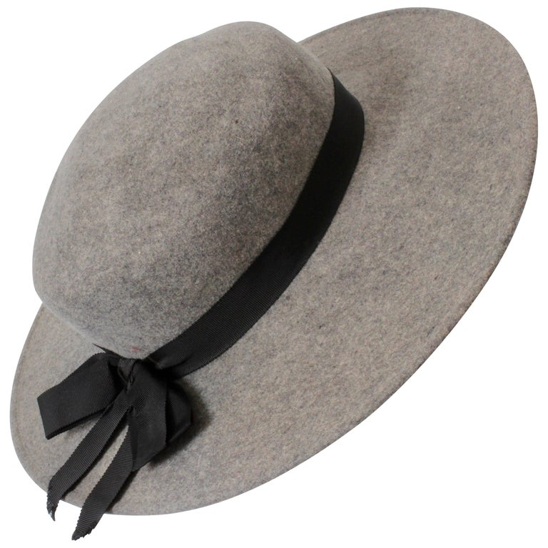 c3016a38d27 Yves Saint Laurent by Bollman Hat Co Wide Brim Gray Wool Hat , 1970s For  Sale