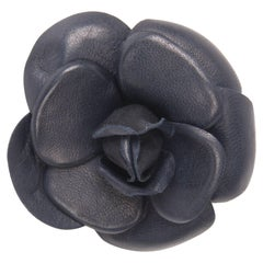 Chanel Leather Camellia Brooch Pin - dark blue