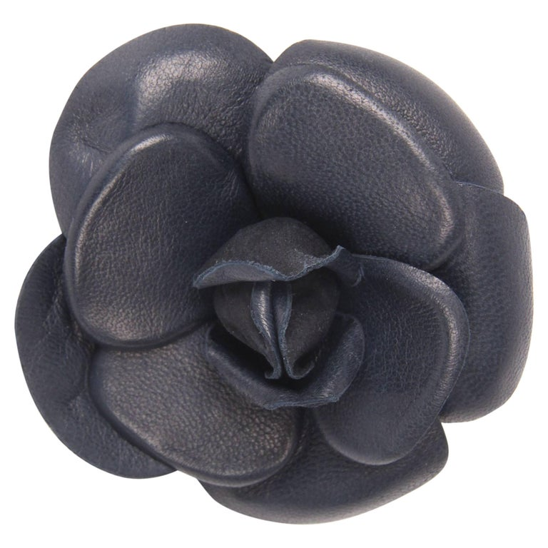 Chanel Leather Camellia Brooch Pin - dark blue For Sale