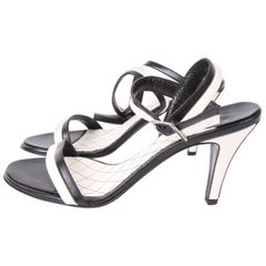 Chanel Leather High Heel Sandalettes - black & white