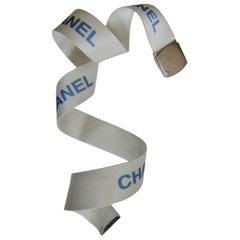Chanel Logo Military White Belt 1990s