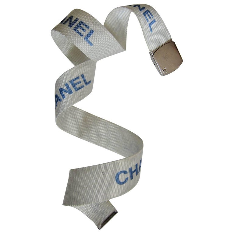 Chanel Logo Military White Belt 1990s