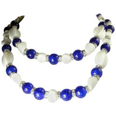 Marquise Vintage Blue And White Two Strand Glass Necklace