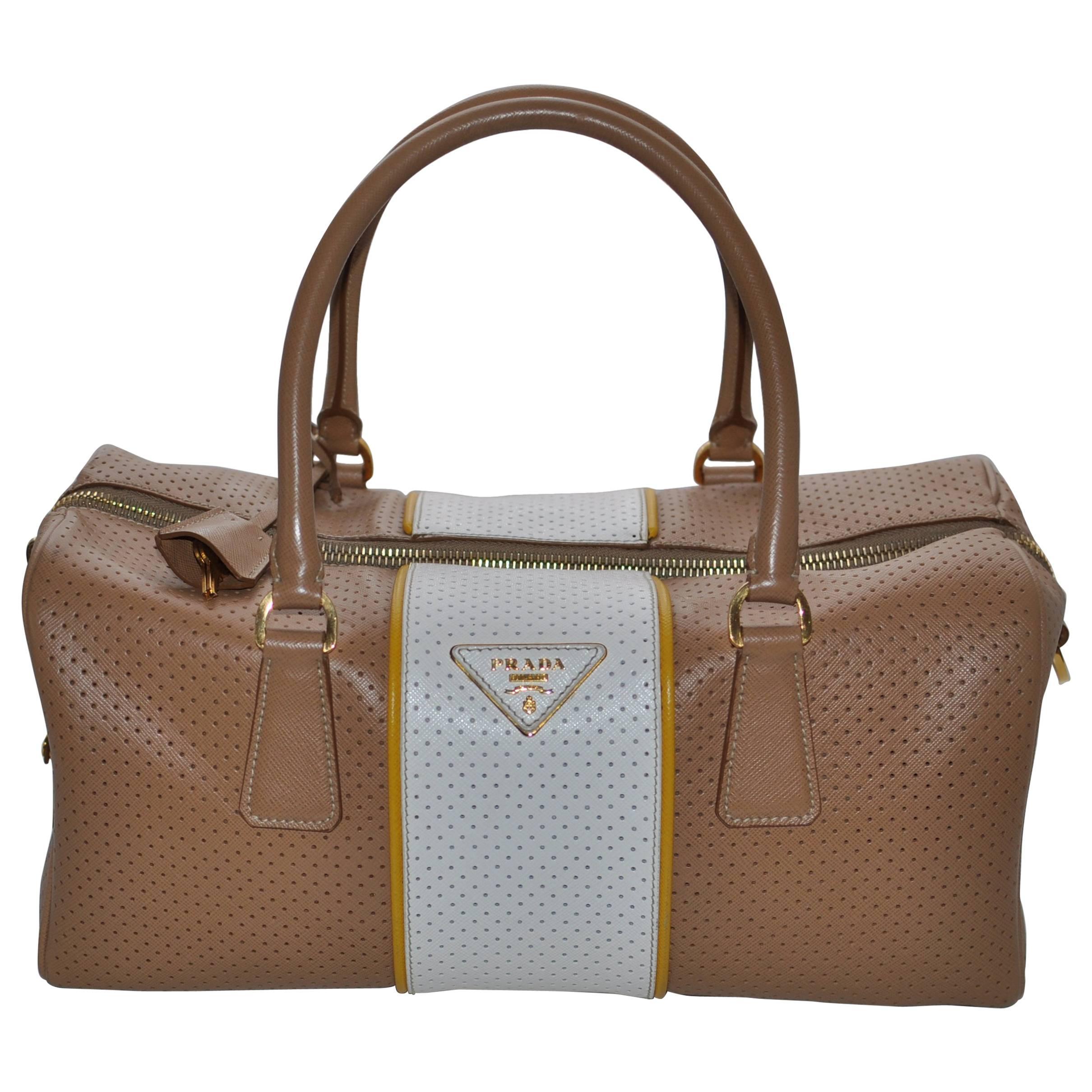 1stdibs Prada Perforated Leather Cuoio/mimosa Safiano Handbag A1BsaH