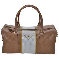 Prada Perforated Leather Cuoio/Mimosa Safiano Handbag