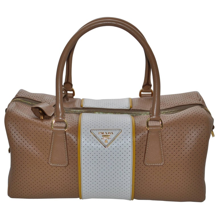 ca9c280ff90a Prada Perforated Leather Cuoio/Mimosa Safiano Handbag For Sale at ...