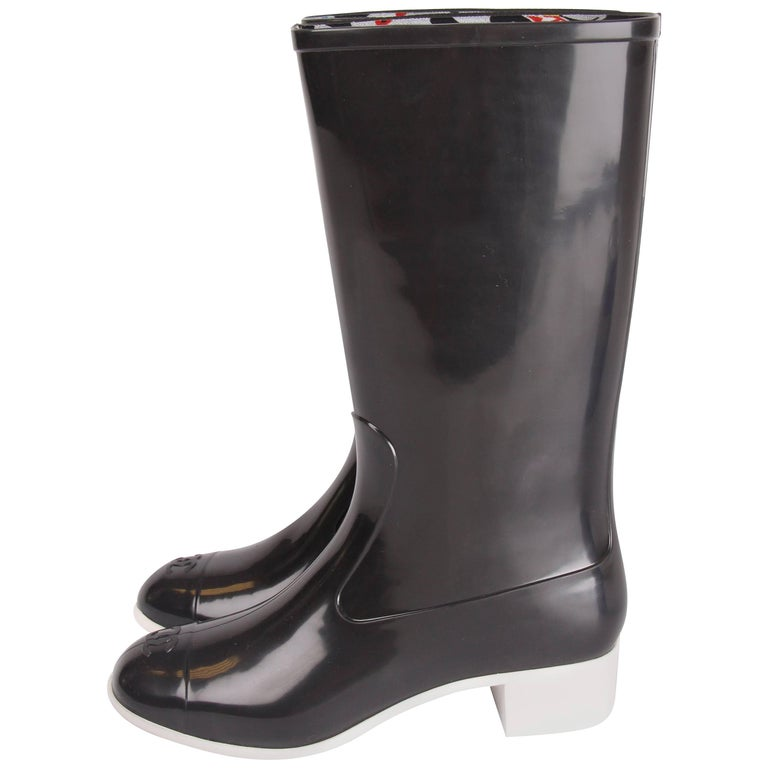 Chanel black and white Baby Animal Rubber Rainboots