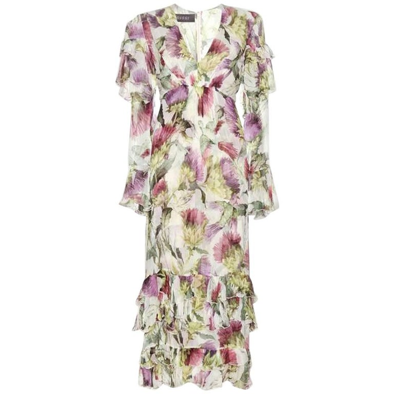 9caf5dd40 New Gucci Thistles and Birds Print Romantic Silk Watercolor Dress It. 40  For Sale